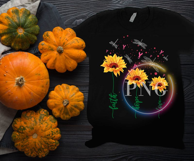 breast cancer awareness sunflower dragon fly – Faith hope love t shirt commercial use t shirt designs