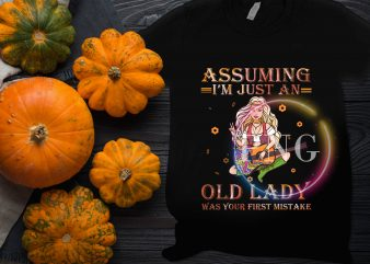 Assuming I'm Just An Old Lady Was your first mistake – Guitar Girl Hippie Floral t shirt vector
