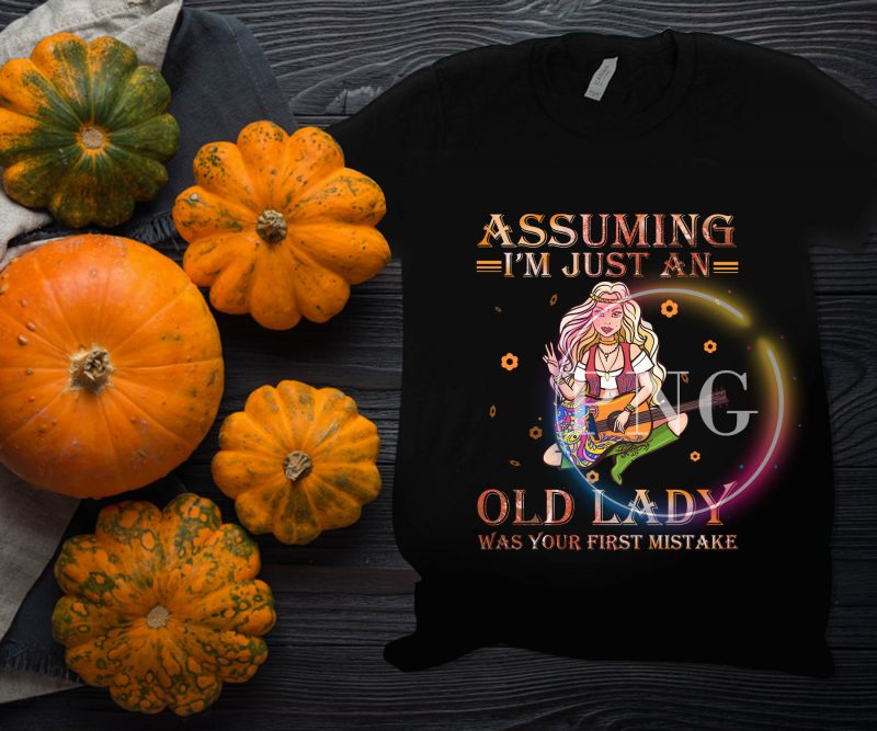Assuming I'm Just An Old Lady Was your first mistake – Guitar Girl Hippie Floral tshirt design for sale