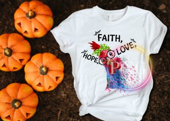 Cancer Awareness Faith Hope Love Cute Chicken T shirt design