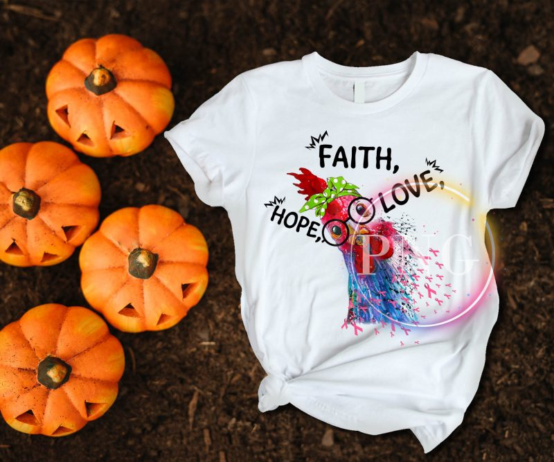 Cancer Awareness Faith Hope Love Cute Chicken T shirt design tshirt design for sale