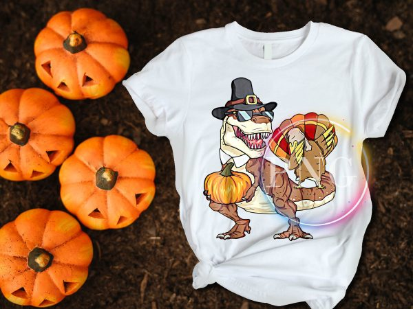 T-rex Dinosaur Turkey Pumpkin Happy Thanksgiving Day T shirt Design Funny