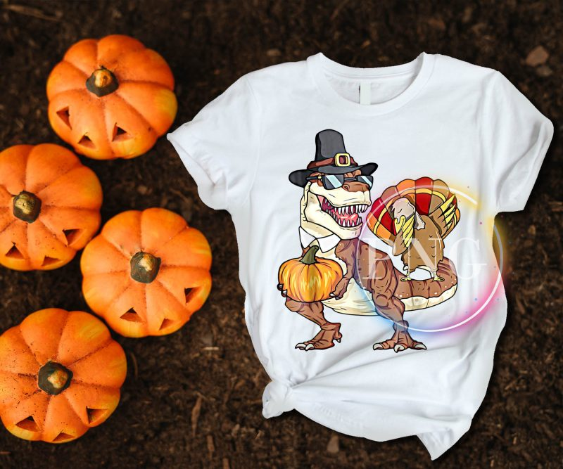 T-rex Dinosaur Turkey Pumpkin Happy Thanksgiving Day T shirt Design Funny tshirt-factory.com