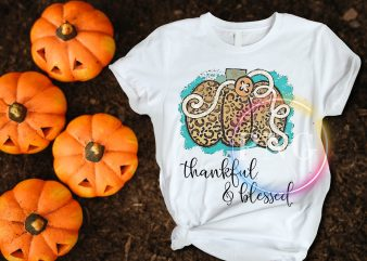Pumpkin Leopard thankful & blessed Thanksgiving T shirt design