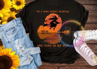 On a dark desert highway cool wind in my hair hippie Witch Halloween Let it be t shirt design