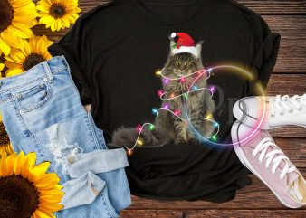 Cat Cute Santa claus Hat Lighting Thanksgiving Christmas T shirt design