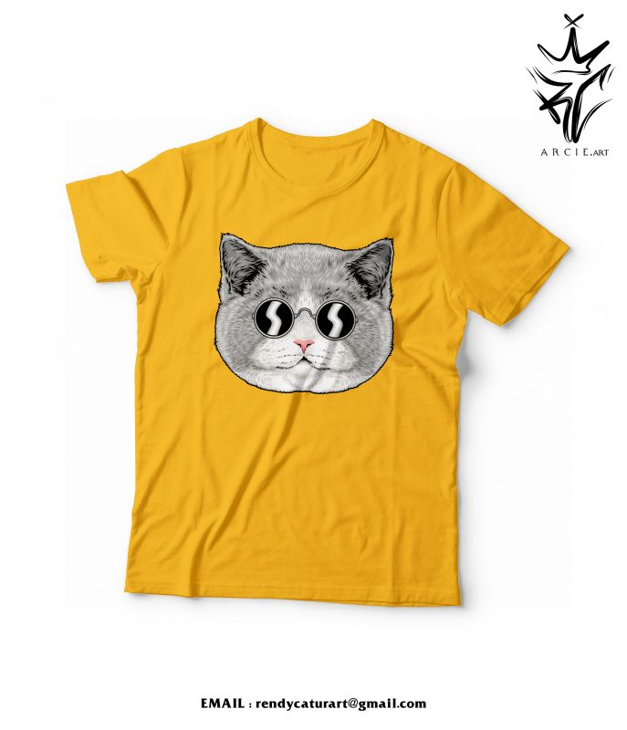 design illustration for t-shirt , cat illustration ,tshirt design vector shirt designs