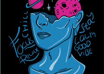 Galaxy on Brain vector t shirt design for download