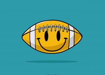 smiley american football t shirt template vector
