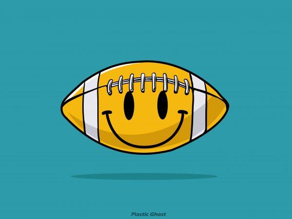 smiley american football t shirt design png