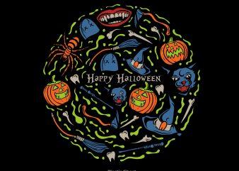 Happy Halloween vector t shirt design for download