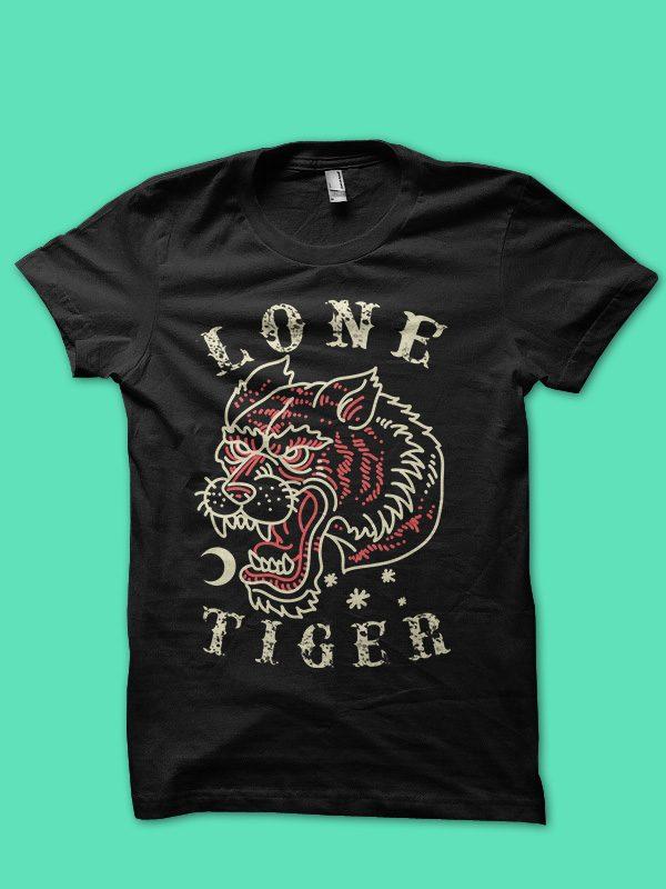 lone tiger tshirt design t shirt designs for printify