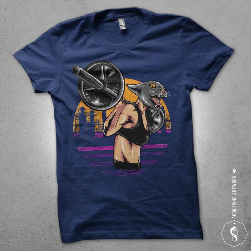 cat gym Graphic t-shirt design t shirt design graphic