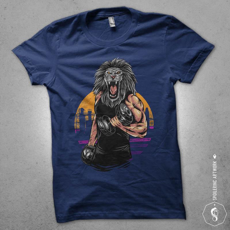 lion gym Graphic t-shirt design buy t shirt designs artwork