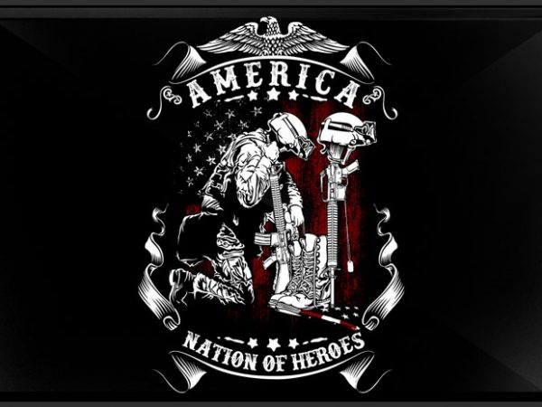 Nation of Heroes vector t-shirt design template