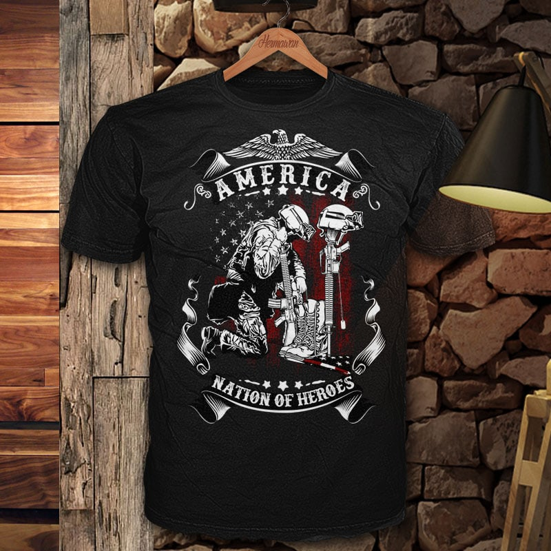 Nation of Heroes t shirt designs for printify