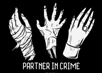 Partner in crime t shirt illustration