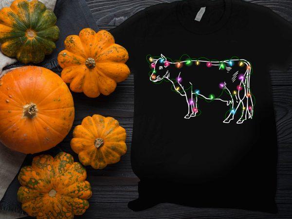Cow light Thanksgiving Christmas Farm day T shirt