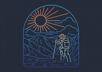 Hiker Line t shirt design png