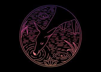 Deer Line vector t-shirt design template