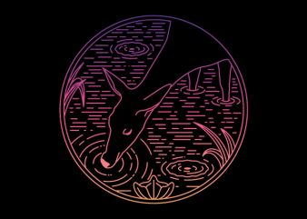 Deer Line t shirt vector illustration