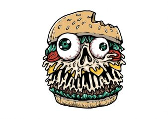 Hamburger Monster t shirt design to buy