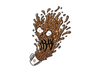 Coffee Monster t shirt vector file