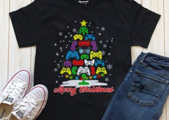 Merry Christmas gaming T-shirt design PNG PSD