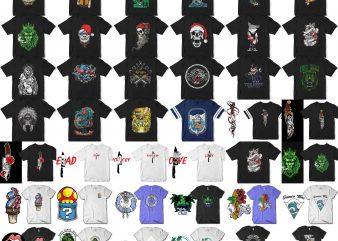 56 tshirt designs. Christmass, Halloween, Skull, Astronaut, etc
