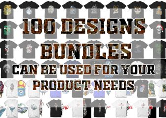 100 tshirt designs. Christmass, Halloween, Skull, Astronaut, etc