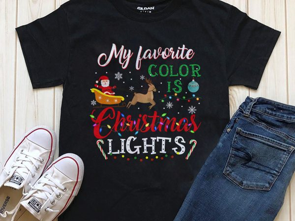 My favorite color is Christmas Light PNG tshirt design download PSD file