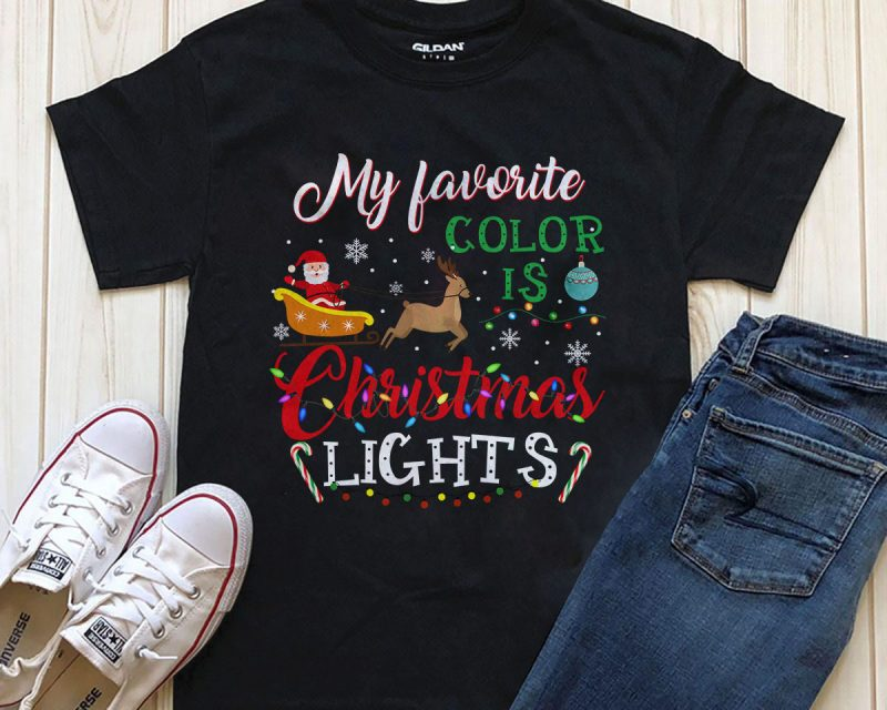 My favorite color is Christmas Light PNG tshirt design download PSD file vector shirt designs