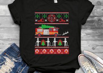 Firefighter Ugly Sweater t shirt design template