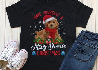 Have yourself a merry doodle Christmas, Dog png psd t-shirt design download