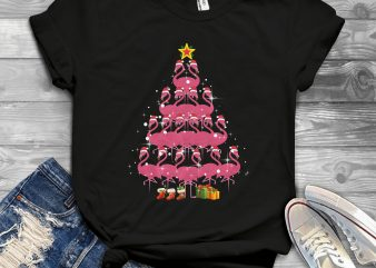 Flamingo Christmas Tree graphic t-shirt design