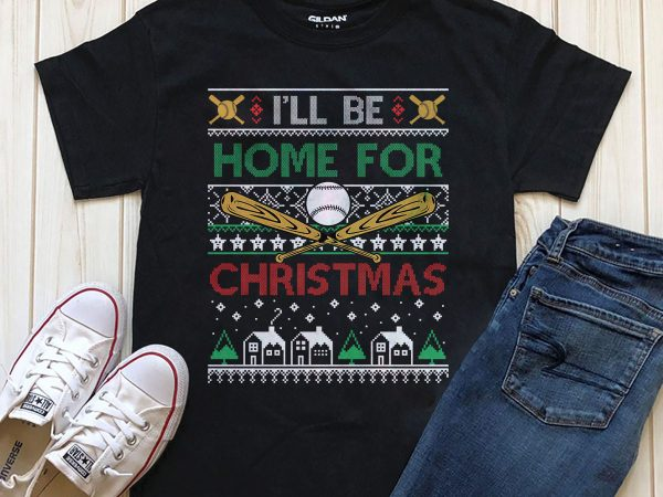 I'll be home for Christmas PNG t-shirt design Printful graphic t-shirt design PSD