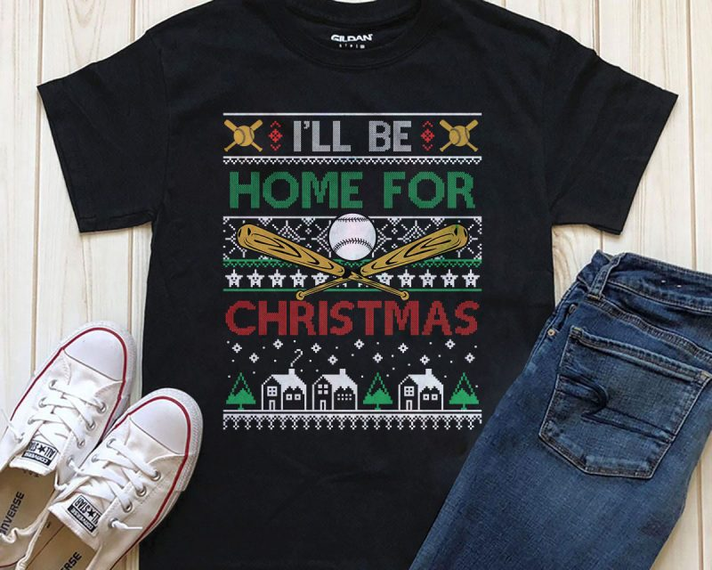 I'll be home for Christmas PNG t-shirt design Printful graphic t-shirt design PSD tshirt factory