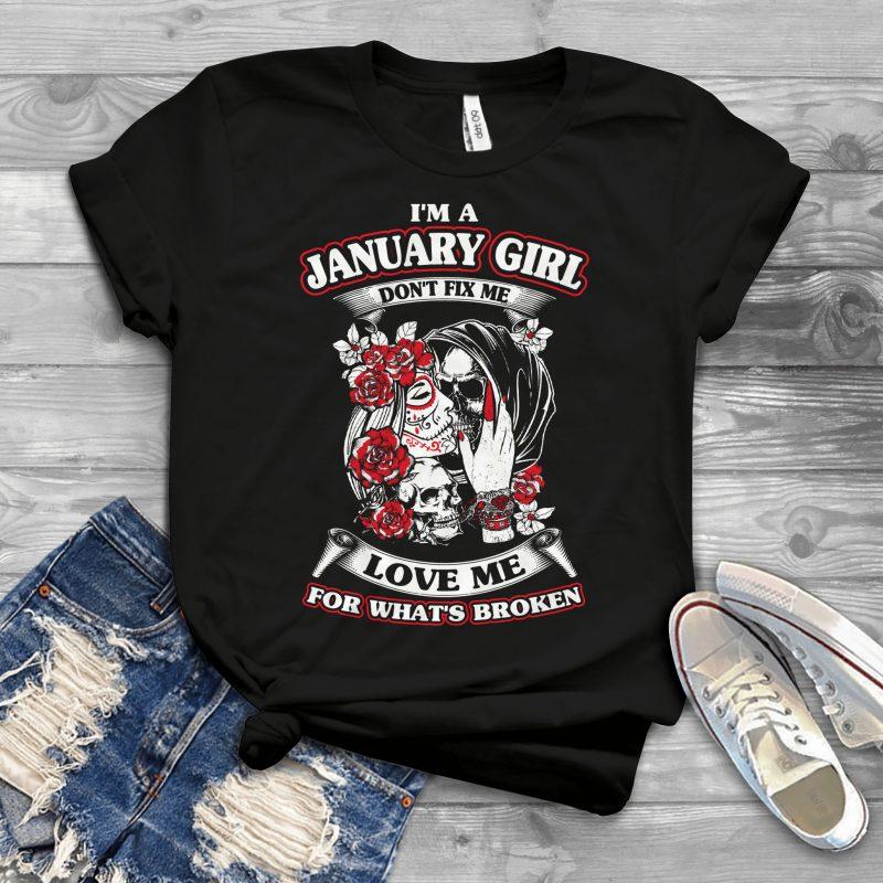 Birthday Zodiac Editable Design – T755_JannuaryGirl tshirt design for merch by amazon