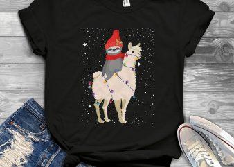Sloth Llama Christmas t shirt design for purchase