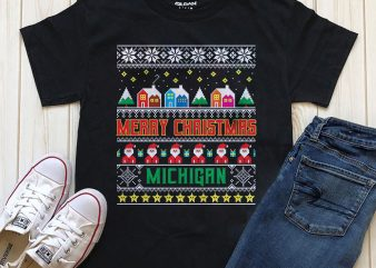 Merry Christmas Michigan t-shirt PNG for download PNG PSD files