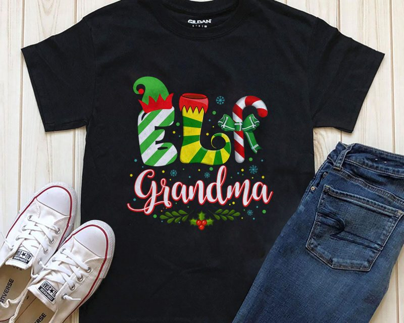 ELF grandma Png graphic t-shirt design vector shirt designs