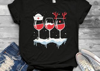 Wine Nurse Christmas shirt design png