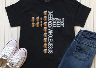 Jesus and beer t-shirt design for commercial use
