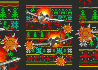 Aircraft Ugly Christmas Sweater vector t-shirt design template