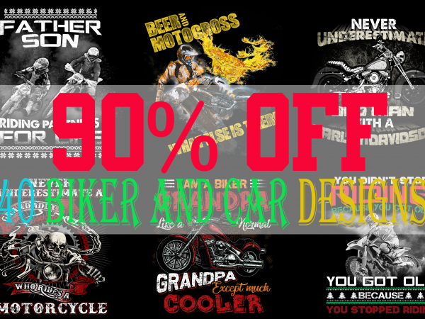SPECIAL BIKER AND CAR BUNDLE – 40 EDITABLE DESIGNS – 90% OFF-PSD and PNG – LIMITED TIME ONLY!