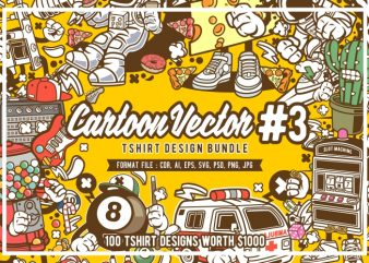 100 cartoon vector tshirt designs bundle #3