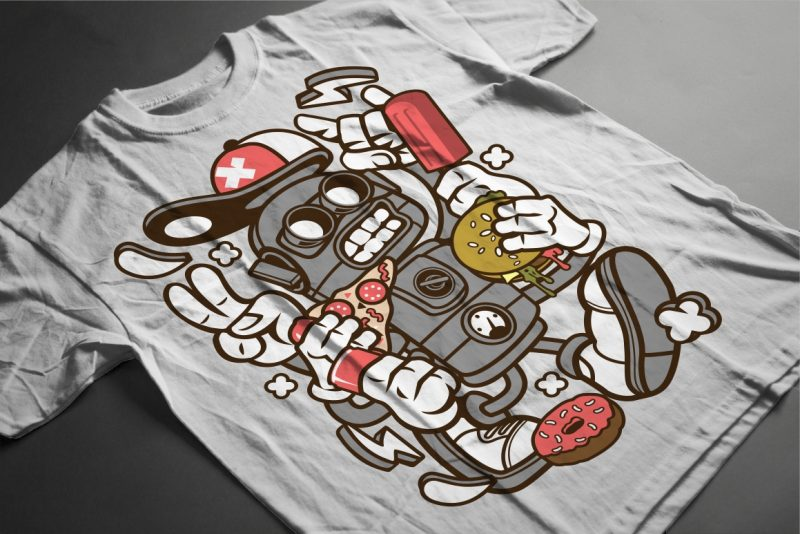 100 Cartoon Vector Tshirt Designs Bundle