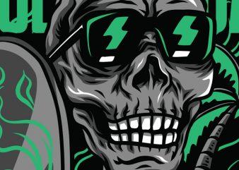 Skull Holiday T-Shirt Design Template