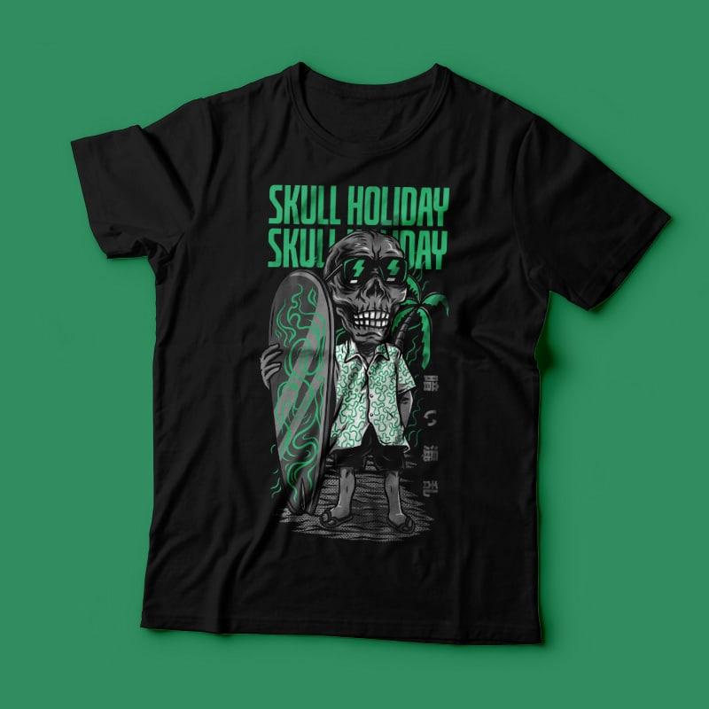 Skull Holiday T-Shirt Design Template vector t shirt design