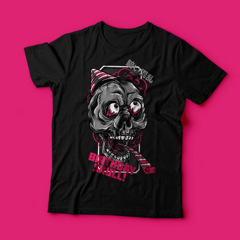 Birthday Skull T-Shirt Design Template buy t shirt design